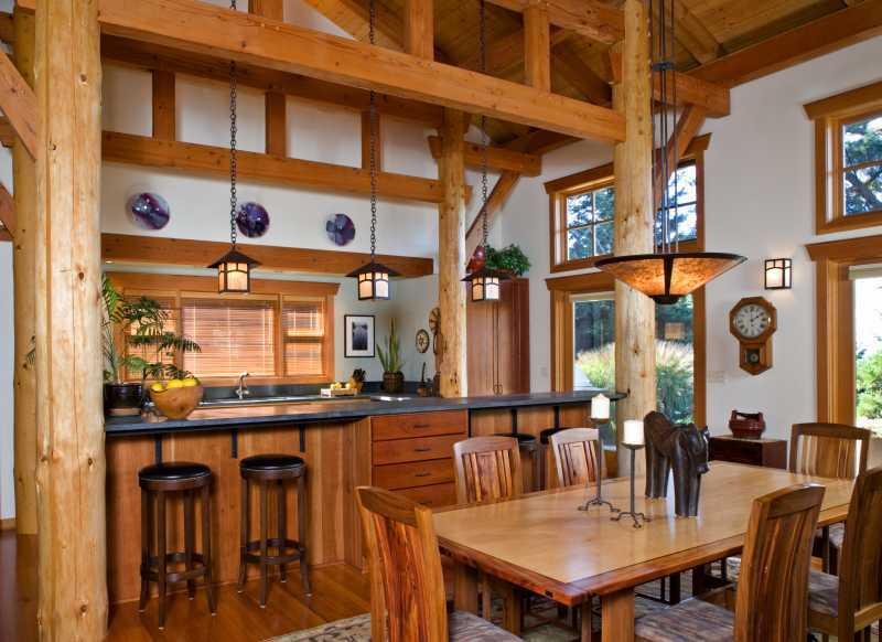 San Juan Island - Timber Frame Post and Beam Kitchen
