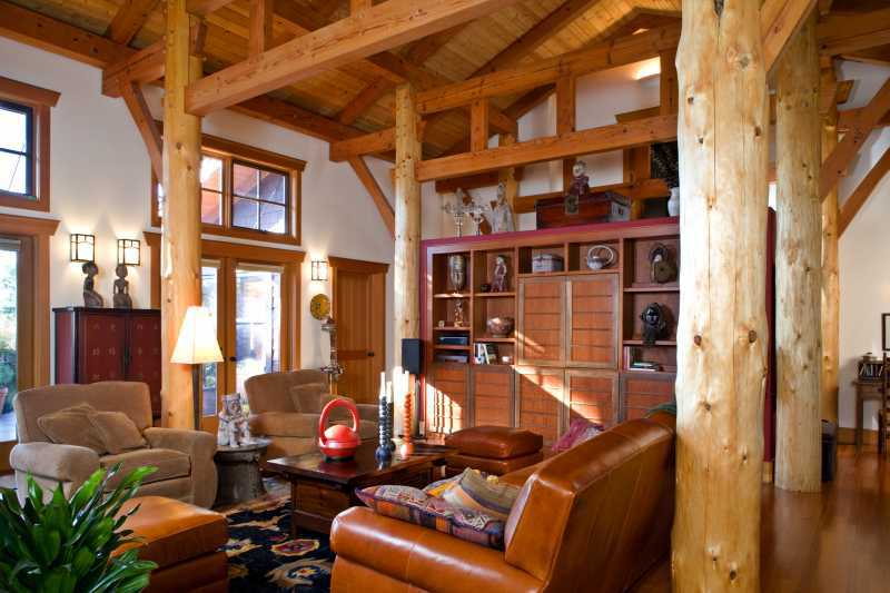 San Juan Island Timber Frame Home - Post and Beam Living Room