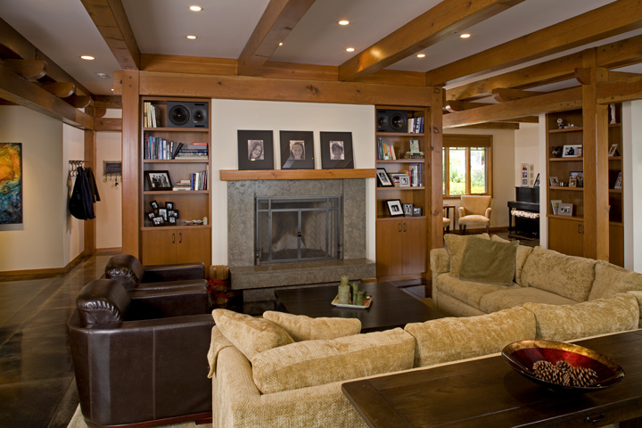 Modern Bellingham Home - Timber Frame Living Room