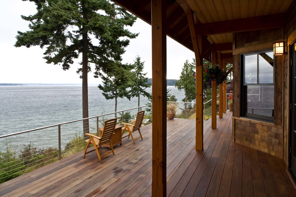 Timber Frame Waterfront Home - Deck View