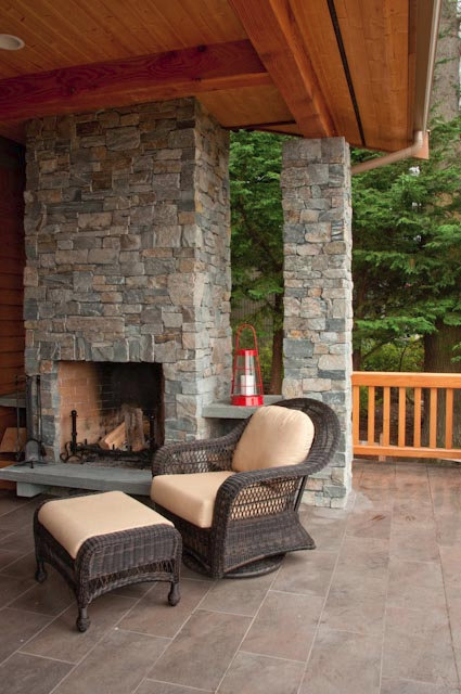 Anacortes Timber Frame Home - Outdoor Fireplace