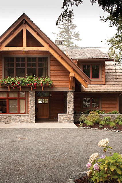 Pacific nw timber frame lodge inspired home greg for Pnw home builders