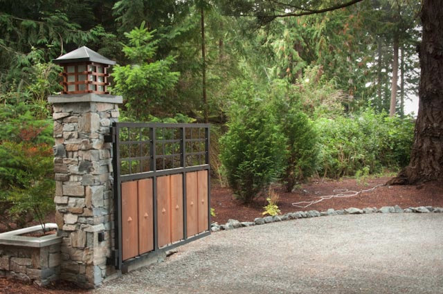 Anacortes Timber Frame Home - Stone Entry Gate