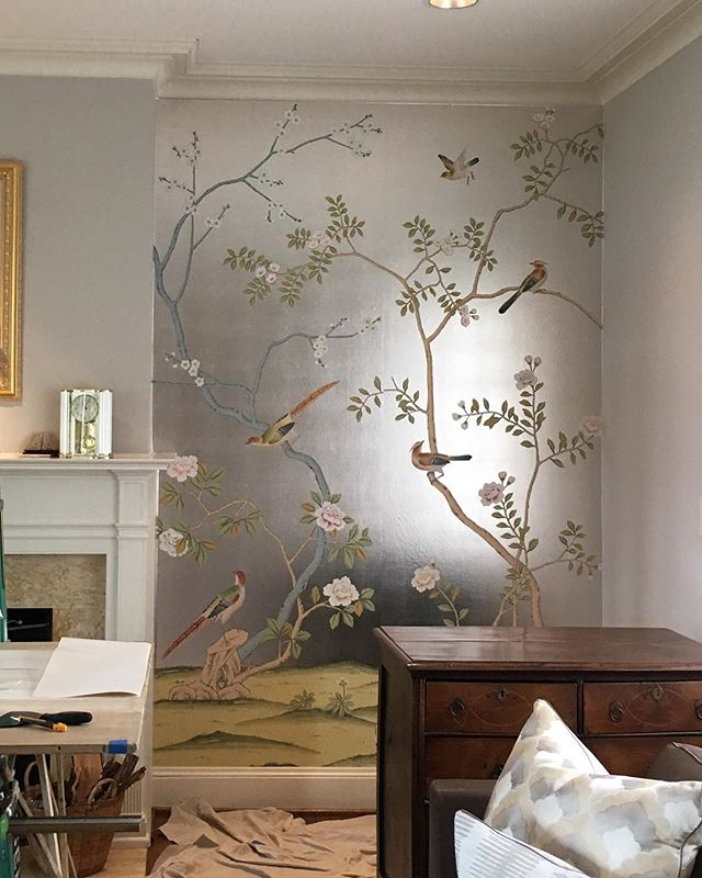 de Gournay install at a client's home today 😍 #degournay #classic #silverleaf #guesthouseseattle