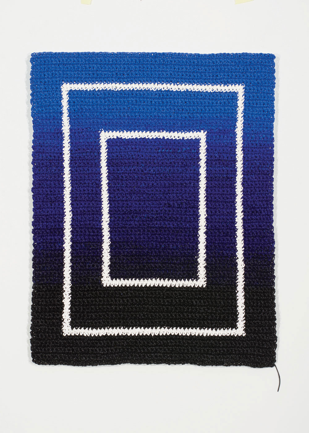 Angela Teng, Jump Start, 2016. Crocheted acrylic paint on auminum panel, 24 x 18 in.