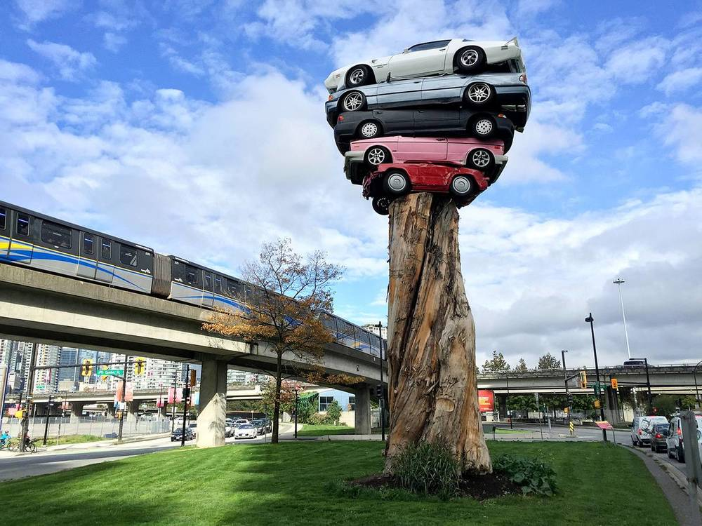 Marcus Bowcott's Trans Am Totem, part of the 2014-16 Vancouver Biennale / Image via The Georgia Straight