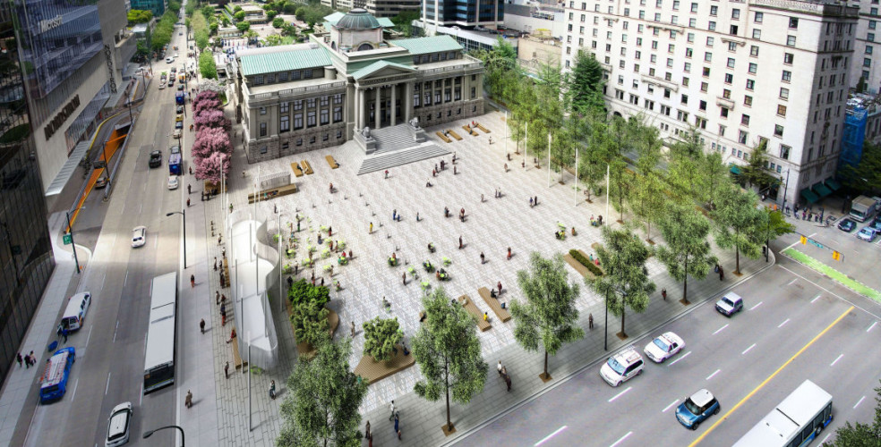 Artist rendering of the Vancouver Art Gallery's new plaza.