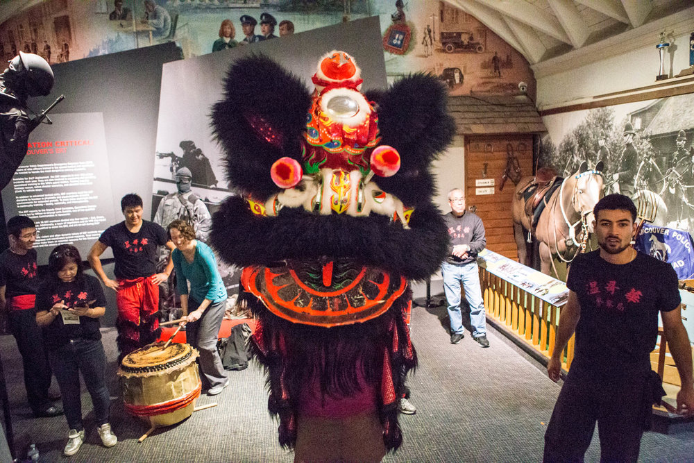 VDP Lion Dance Performance at Vancouver Police Museum. | Image: Mary Matheson Photography