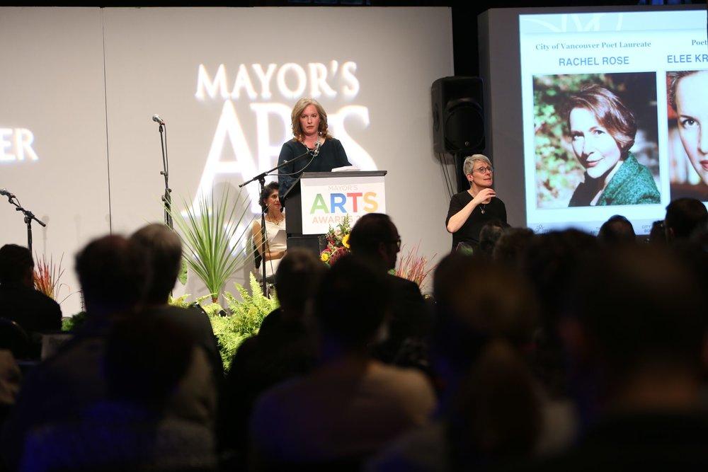 Poetry ambassador Elee Kraljii Gardiner read on behalf of poet laureate Rachel Rose. | Image: Sarah Race.