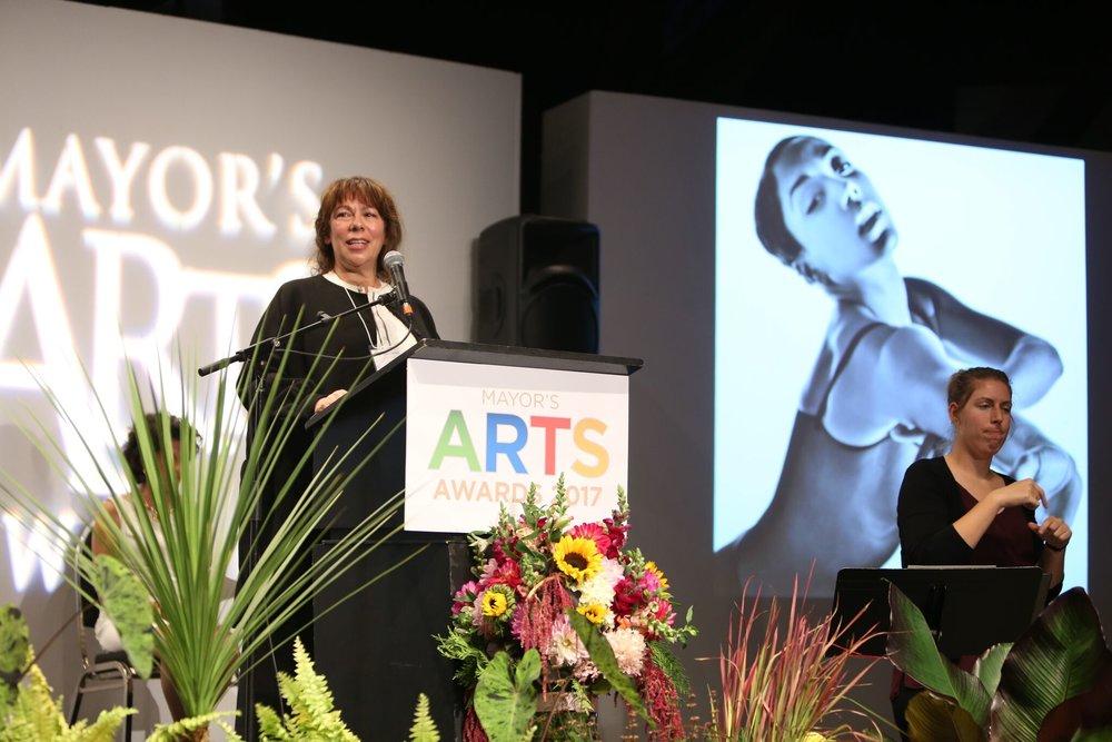 Dance honouree Artemis Gordon spoke on behalf of emerging artist Livona Ellis. | Image: Sarah Race.