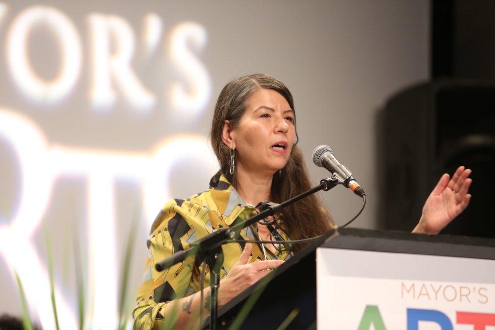 Judy Radul accepts her award for Visual Arts. | Image: Sarah Race.