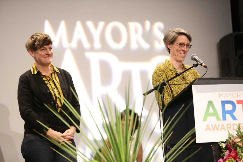 Hannah Jickling (left) and Helen Reed (right) shared the emerging artist prize for Public Art. | Image: Sarah Race.