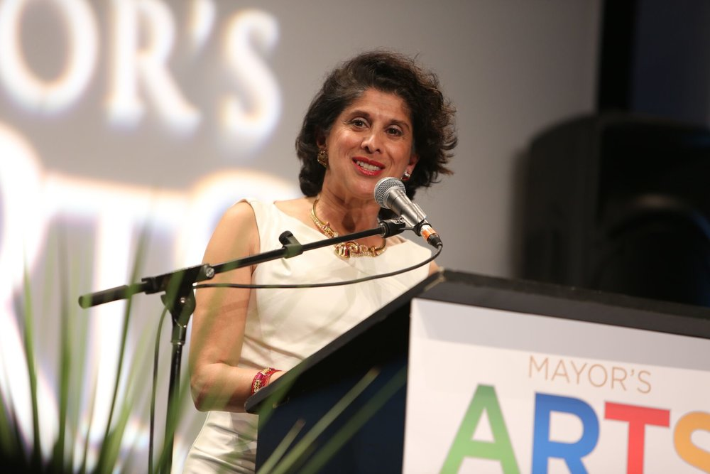 Actor and comedian Veena Sood presided as the evening's master of ceremonies. | Image: Sarah Race.