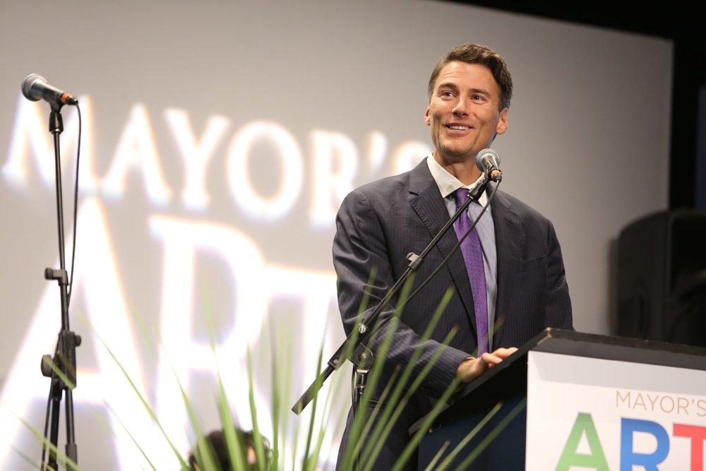 Mayor Gregor Robertson takes the podium. | Image: Sarah Race.