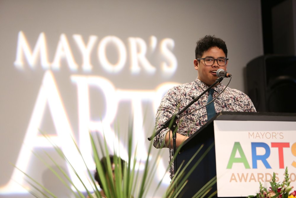 Craft & Design emerging artist Shaun Peter Mallonga accepts his award. | Image: Sarah Race.