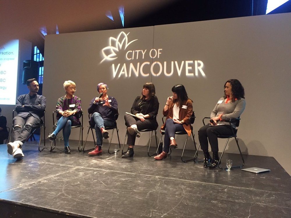Panelists discuss the lack of affordable studio space and the need for inclusivity in the arts at the launch of Creative City Strategy's public input process. | Image: @vanculturebc.
