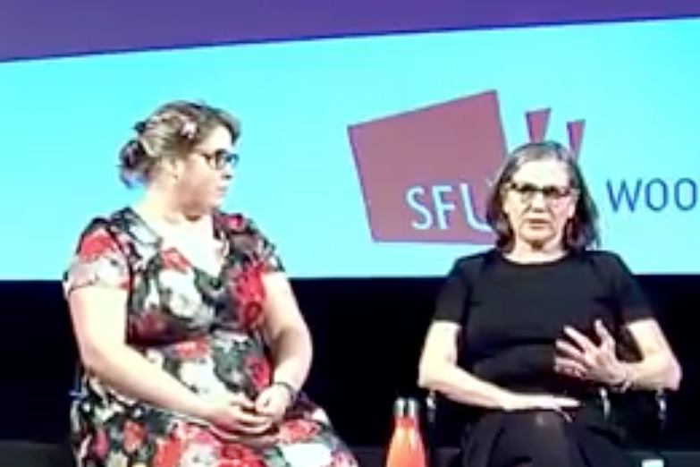 BC Alliance board member Dani Fecko and executive director Brenda Leadlay in a screenshot from the live stream of Celebrate or Demonstrate: A Community Response to the BC Budget, held Feb. 21, at SFU Woodwards.