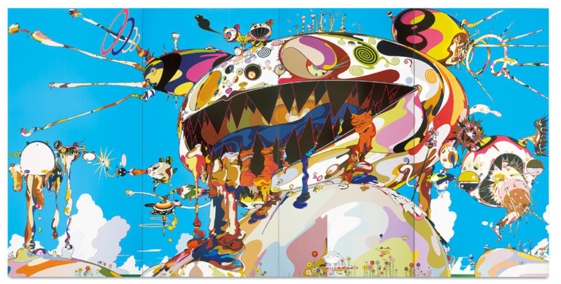 Like many works in the show, Takashi Murakami's PAINTING  Tan Tan Bo Puking   is massive, bigger than a billboard. | Image: Adam Reich.