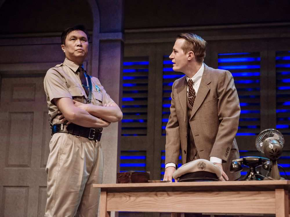 John Ng and Scott Bellis in a 2017 production of Nine Dragons. The detective story comes to the Gateway Theatre from April 12 to 21. | Image: Gateway Theatre.