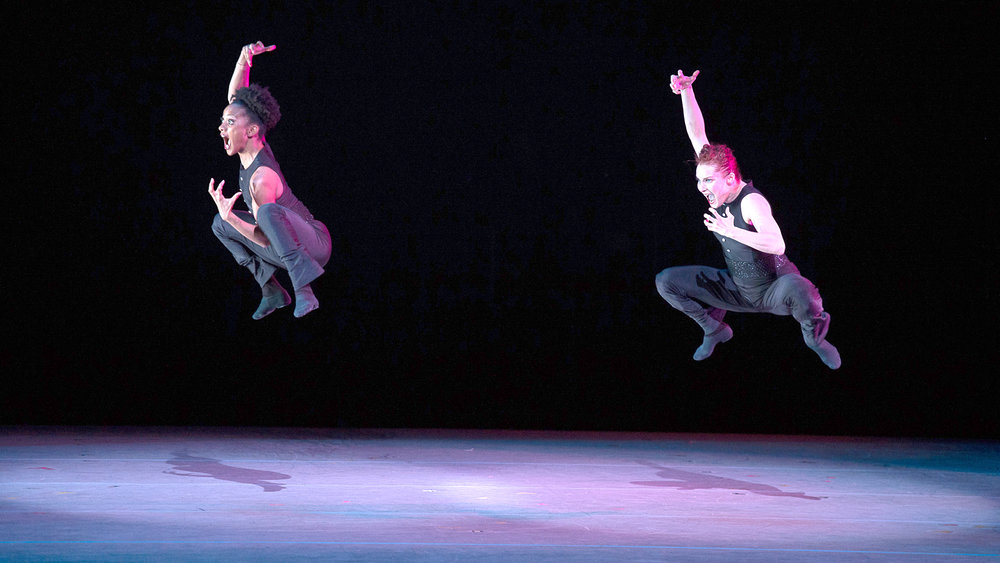 Ella Fitzgerald's vocal licks meet their match as two dancers twist and bounce in Alvin Ailey American Dance Theater's presentation of  Ella —one of four works on a mixed program. | Image: Dance Victoria.