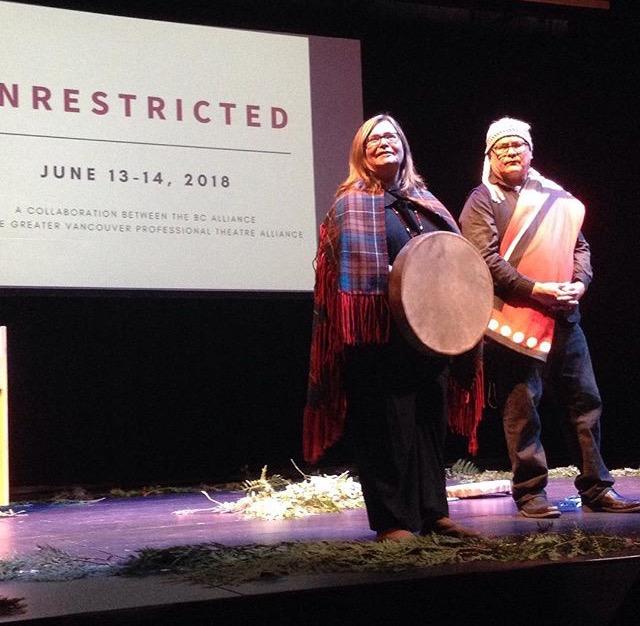 Indigenous elders Margo Kane and Dennis Joseph (l-r) welcome delegates to Unrestricted.