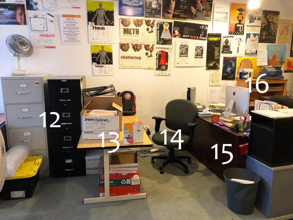 "12.  Filing cabinets  13.  Desk: 30"" x 60"" (metal)  14.  Another office chair!  15.  Desk: 30"" x 60"" (wood, same as #10, back view)  16.  Another bookcase: 32"" 48"""