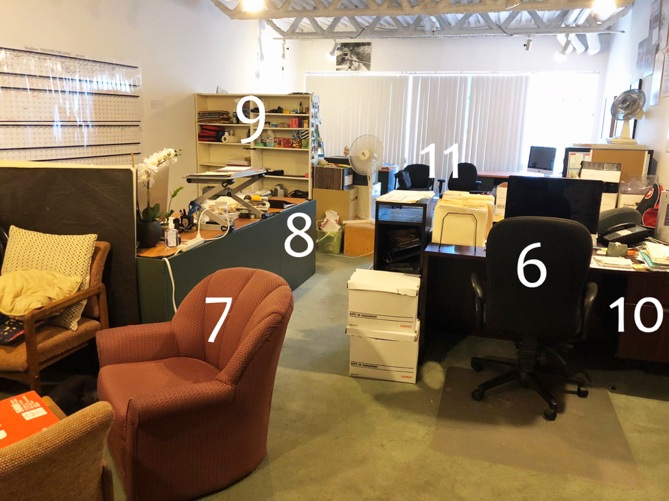 "6.  Another Desk chair  7.  Armchairs  8.  Desk: 60"" x 99"" (same as #3)  9.  Bookcases  10.  Desk: 30"" x 60"" (wood)  11.  More chairs! (same as #5)"