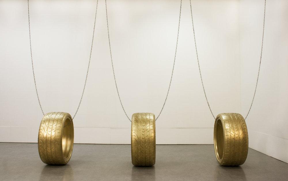 Gems (car tires, metal chains) , by Durrah Alsaif | Image: Deer Lake Gallery.