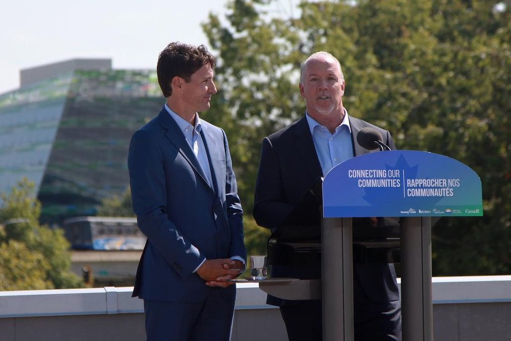 Trudeau (left) made the comment while he was in Surrey, announcing transit-related news. | Image: Toronto Star.