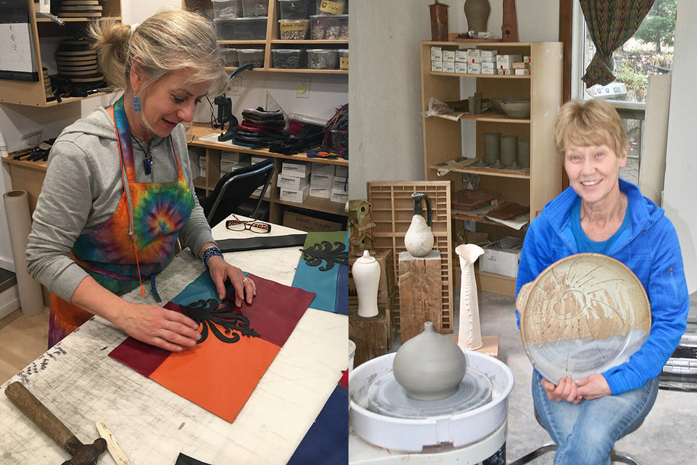 Anita Jackel, left, and Patricia Rokosh are two of the artists taking part in this year's Gabriola Arts Council Thanksgiving Studio Tour from Oct. 6 to 8. | Image: Gabriola Arts Council.