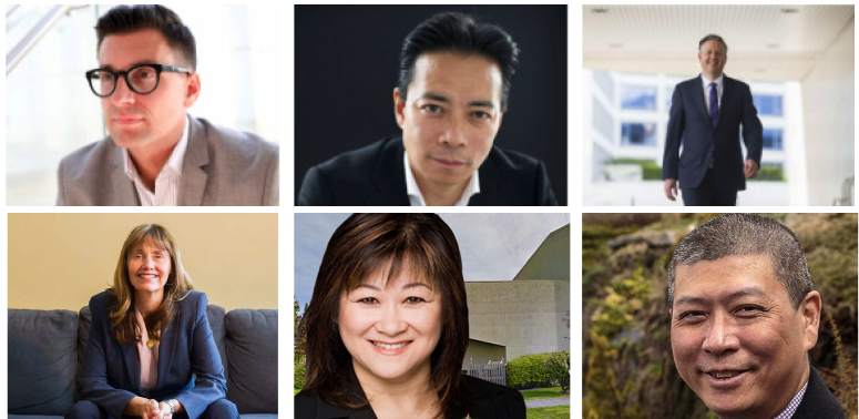 Clockwise from top left: Hector Bremner, Ken Sim, Kennedy Stewart, David Chen, Wai Young, Shauna Sylvester.