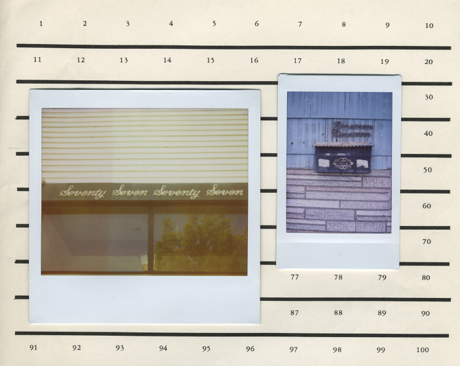 faintly glistening fronts found restating their stance ; 2013 — original polaroids on found paper