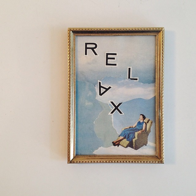 Reclining in the Clouds ; 2015  —  cut paper collage in vintage frame
