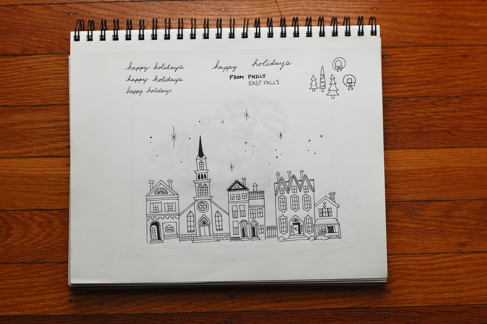 Notebook sketch in pen and ink by One Sharpened Pencil