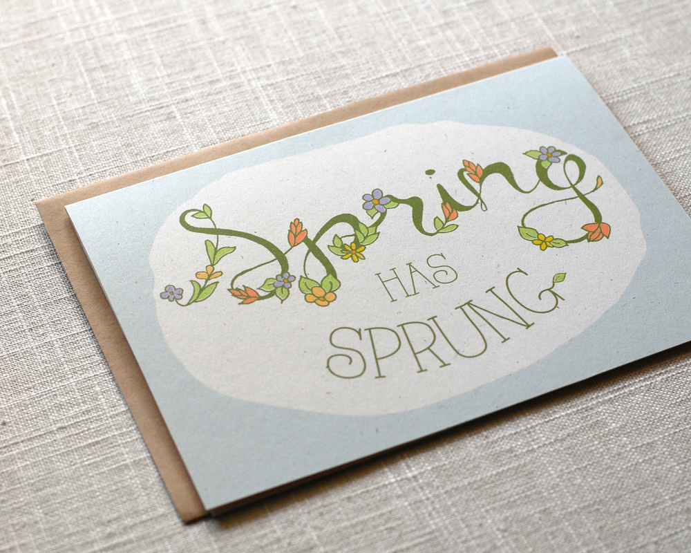 One Sharpened Pencil Spring has Sprung Greeting Card