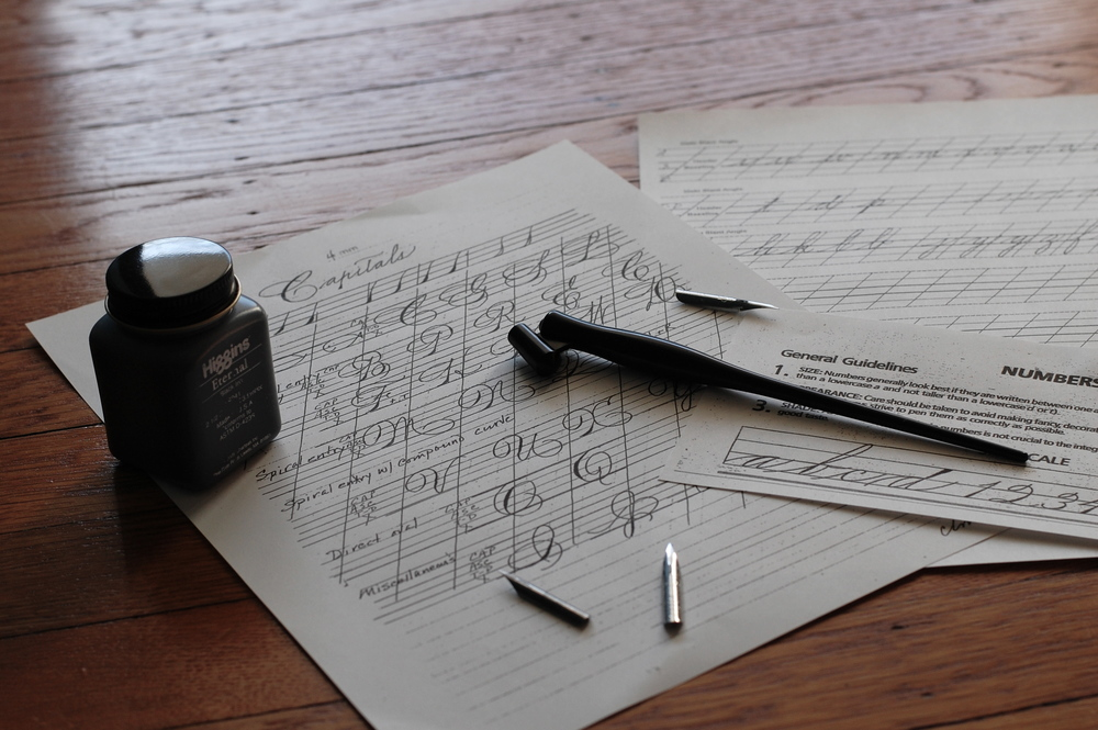 Lined Practice Sheets, Pens and Nibs for My Spencerian Calligraphy Class