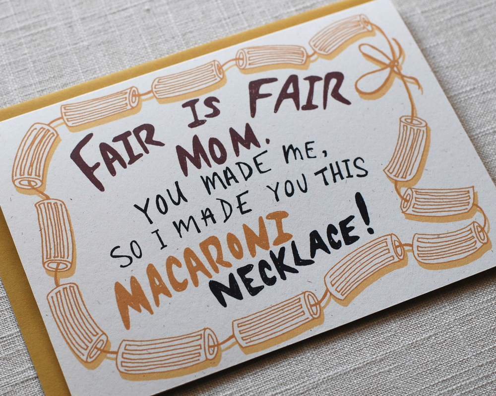 Front of Mother's Day Card: Macaroni Necklace by One Sharpened Pencil