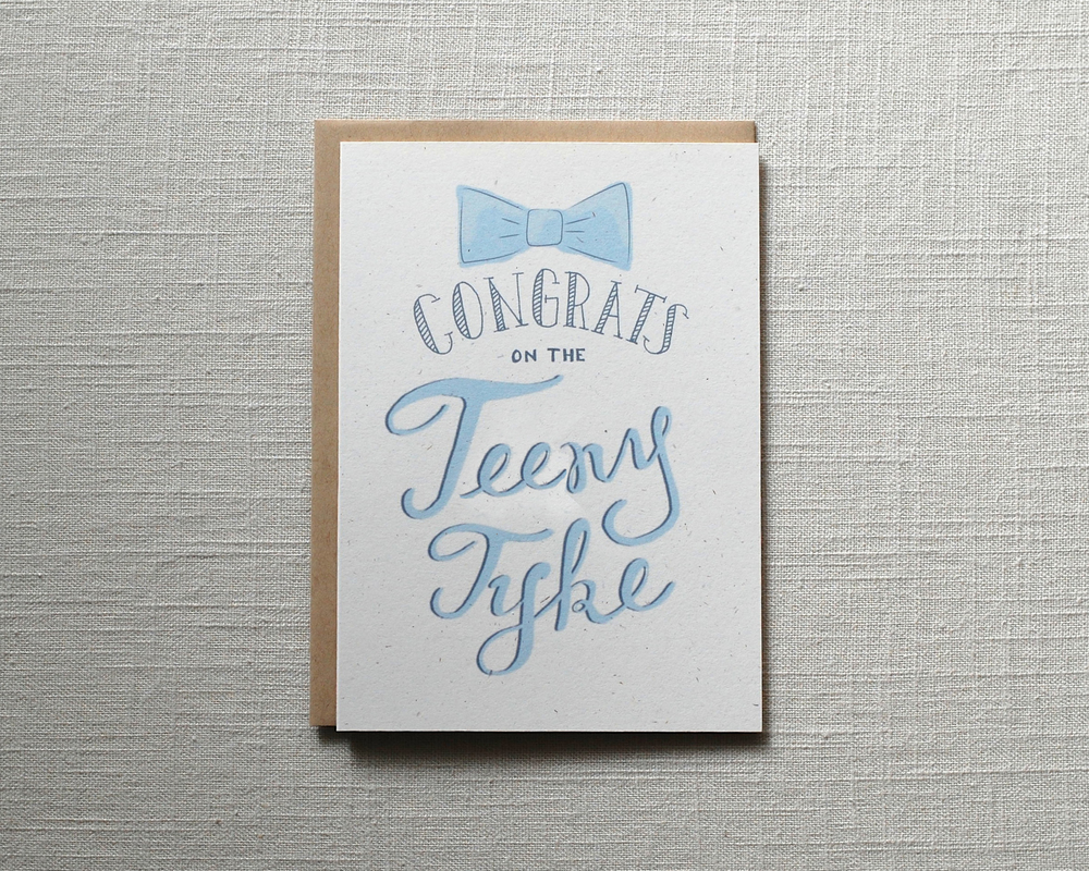 Teeny Tyke Baby Congratulations Card by One Sharpened Pencil
