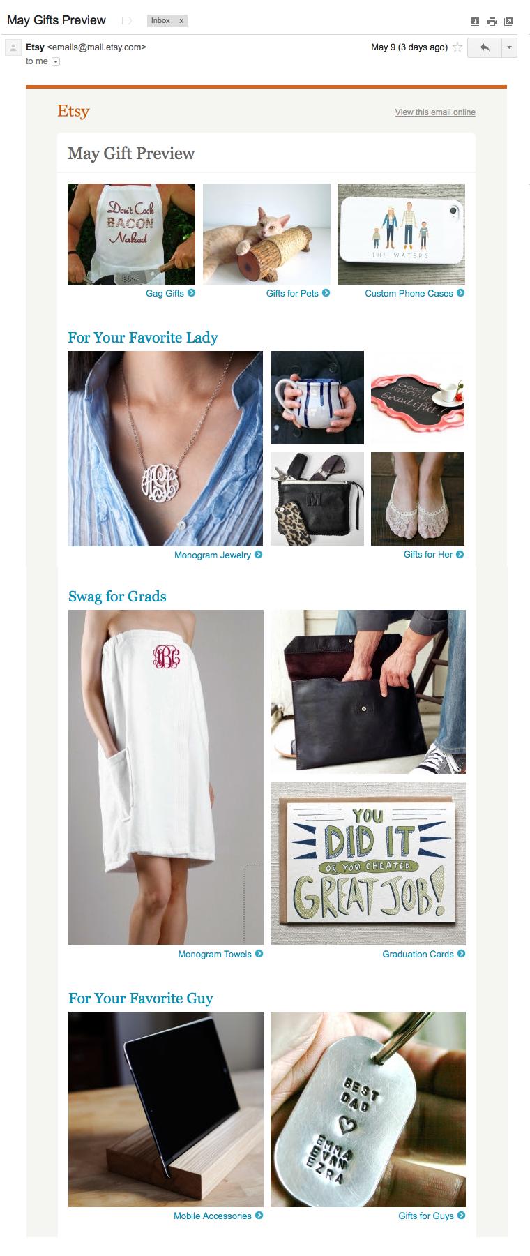 Etsy May Gift email blast