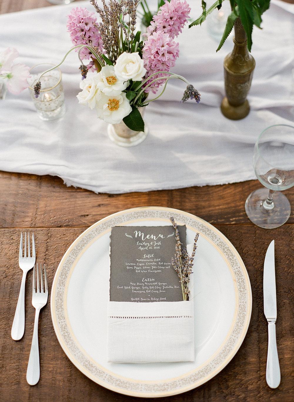 wedding menu_ lavender invitations_ silver menu