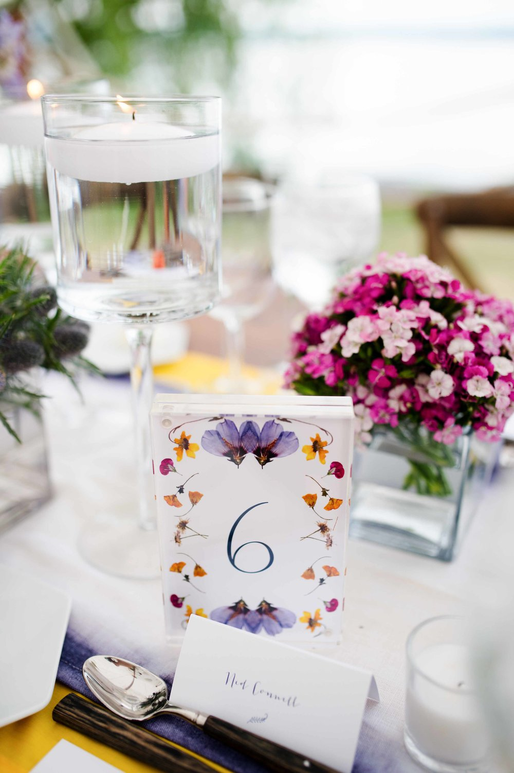 table number pressed flower