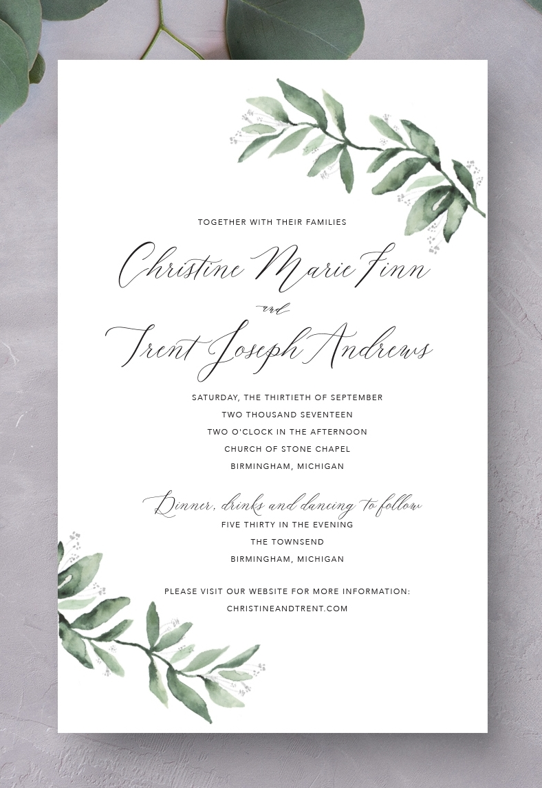 Olive Branch Wedding Invitation jade social design