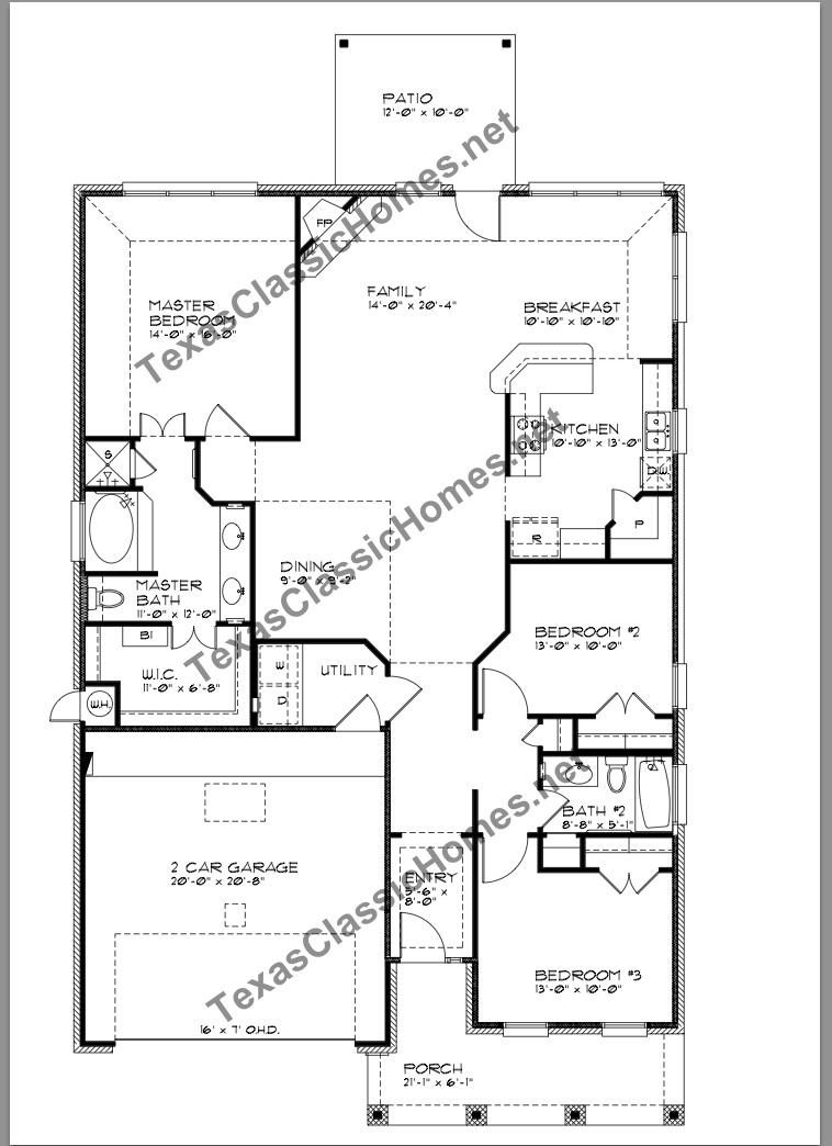 Floor plan front entry garage