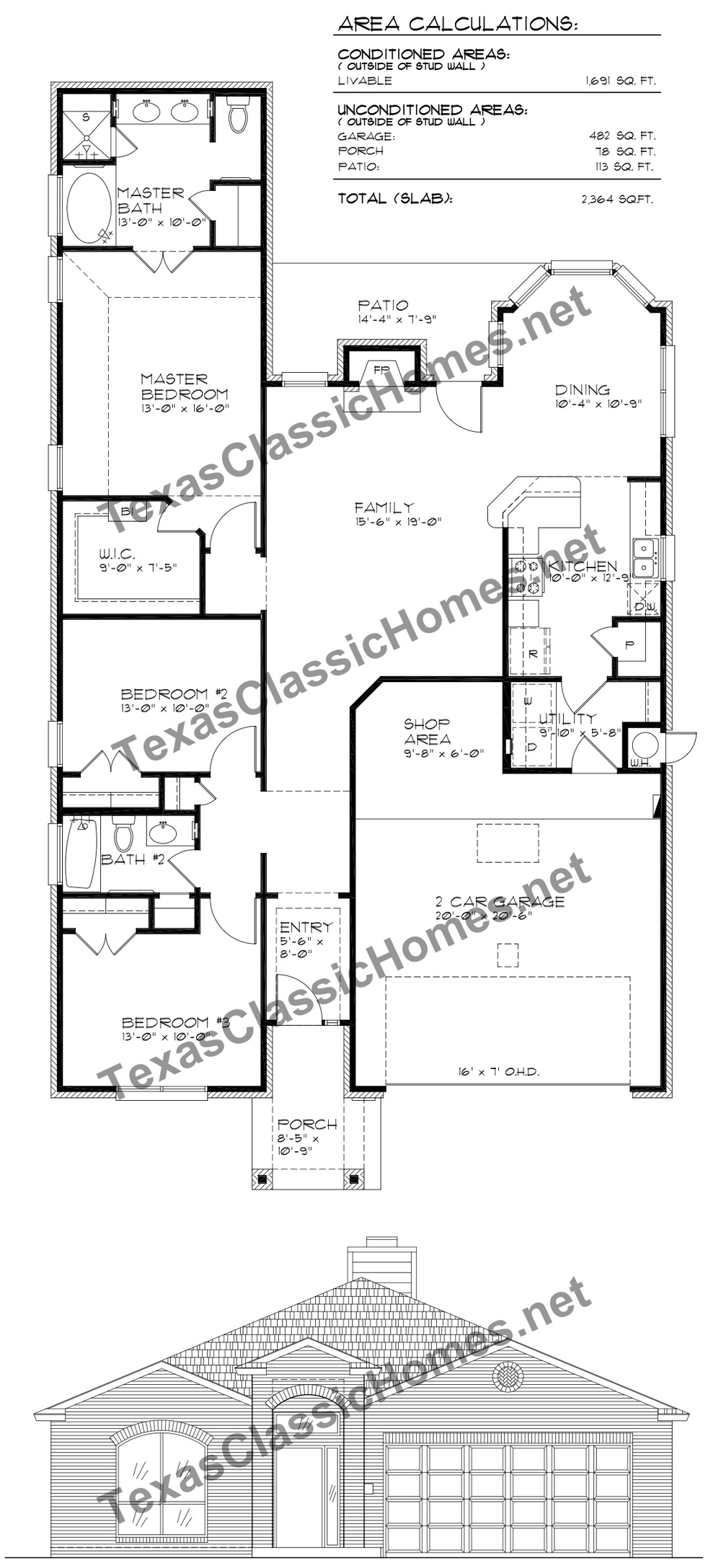 This plan includes lots of windows and a large master suite area.