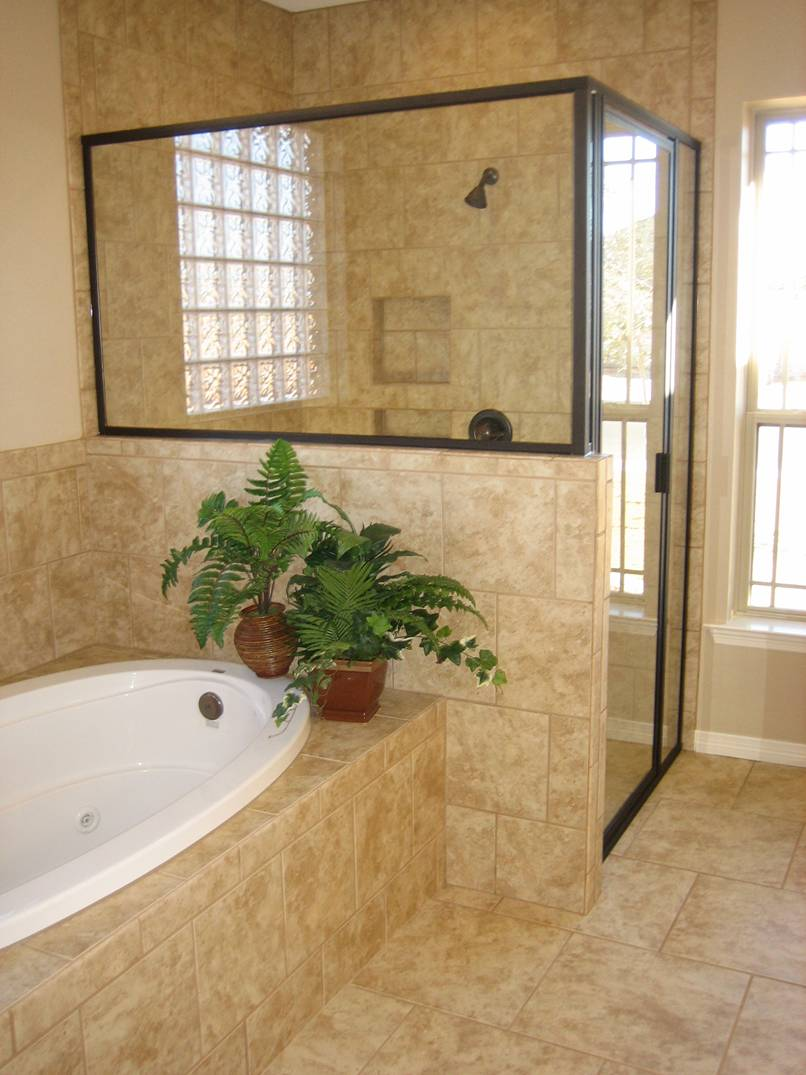 The amount of natural light in this master bath allows you to see without wasting energy by flipping a light switch every time you walk in.