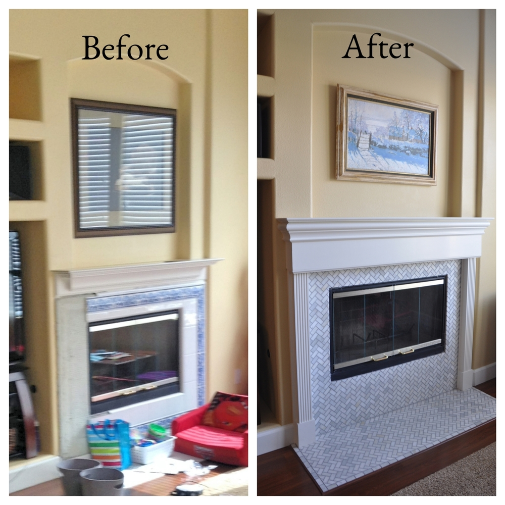 Fireplace Mantle and Tile Remodel