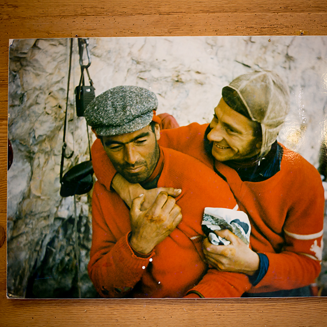 A old image on the wall of a rifugio we stay in during the Italian Dolomites Photo Trek.