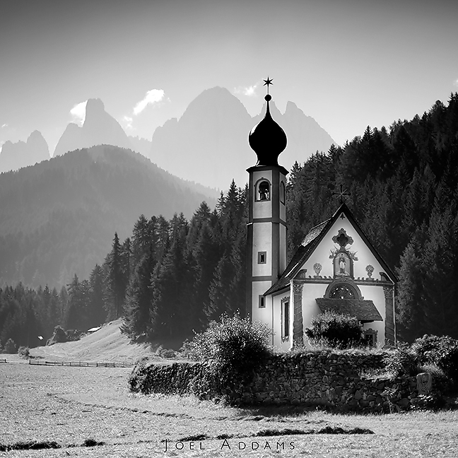 Late morning shot of St. Johann / St. Giovanni on the west side of the Italian Dolomites.