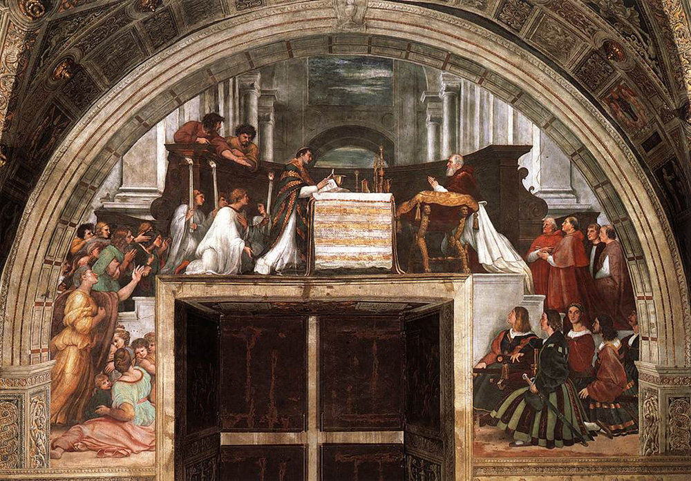The Mass at Bolsena by Raphael (660 cm [260 in] wide, Fresco, between 1512-1514). Apostolic Palace, Vatican City.
