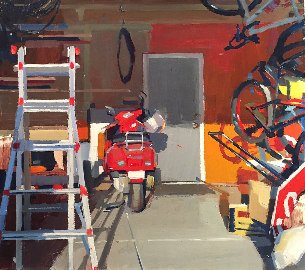 """""""Morning Garage"""" by Lane Bennion. Oil on Panel, 16x18"""" (2016) Presented an opening reception on November 25, 2016 at Terzian Galleries in Park City, Utah."""